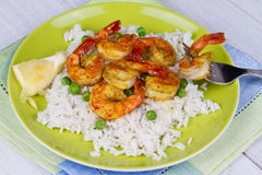 Shrimps with Rice and Peas Royalty Free Stock Photos