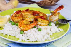 Shrimps with Rice and Peas Stock Photos