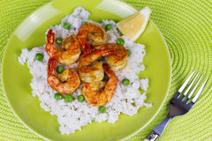 Shrimps with Rice and Peas Royalty Free Stock Photography
