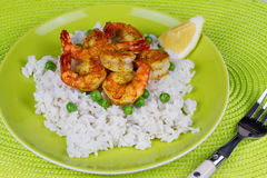 Shrimps with Rice and Peas Royalty Free Stock Image