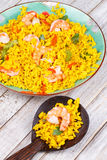 Shrimps Risotto garnished with fresh parsley and red chili pepper Stock Photography