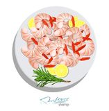 Shrimps with rosemary and lemon on the plate. Vector illustrationin cartoon style. Seafood product design. Inhabitant. Shrimps with rosemary and lemon on the Stock Photos