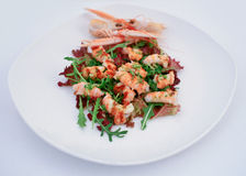 Shrimps salad. Plate on white Royalty Free Stock Photos