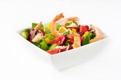 Shrimps salad with mango and avocado isolated Royalty Free Stock Image