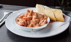 Shrimps salad in pink sauce Royalty Free Stock Photo