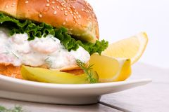 Shrimps Salad Sandwich Royalty Free Stock Photo
