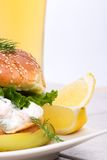 Shrimps Salad Sandwich with be Stock Photo