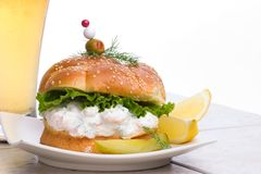 Shrimps Salad Sandwich with be Stock Photos