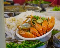 Shrimps for sale at the street market royalty free stock photography