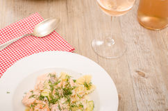 Shrimps and salmon spiced with dill Royalty Free Stock Photos