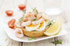 Shrimps sandwich Stock Image