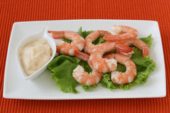 Shrimps with sauce Royalty Free Stock Photo