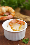 Shrimps with sauce Stock Photo