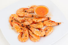 Shrimps with sauce Royalty Free Stock Photos