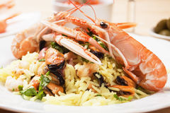 Shrimps and seafood risotto Royalty Free Stock Images