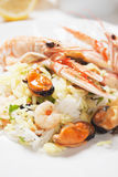 Shrimps and seafood risotto Stock Photos