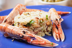 Shrimps and seafood risotto Stock Photo