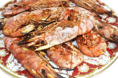 Shrimps seafood - traditional mediterranean food Royalty Free Stock Images