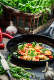 Shrimps served on a pan with herbs Royalty Free Stock Photo