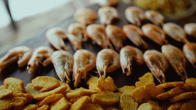Shrimps served on Swedish table stock footage