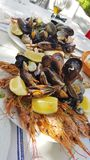 Shrimps and shellfish. With fresh lemon Stock Photo