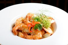 Shrimps in Singapore style Royalty Free Stock Images