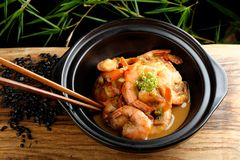 Shrimps in Singapore style Stock Image