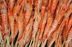 Shrimps on skewer Stock Photography