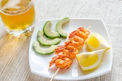 Shrimps skewers Royalty Free Stock Images