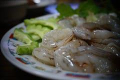Shrimps soak sauce fish. royalty free stock image