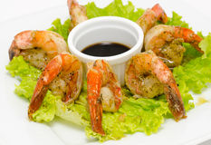 Shrimps with soy sauce Royalty Free Stock Photography