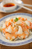 Shrimps with soya sprouts Stock Photo