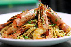 Shrimps with spaggetti Royalty Free Stock Image