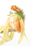 Shrimps with spaghetti Royalty Free Stock Photo