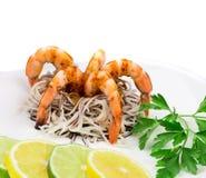 Shrimps with spaghetti Royalty Free Stock Photo