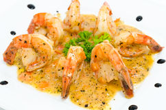 Shrimps with spicy sauce Stock Photography