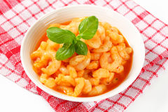 Shrimps with spicy sauce Stock Images