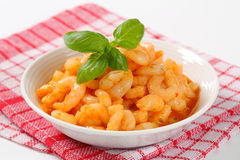 Shrimps with spicy sauce Royalty Free Stock Image