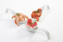 Shrimps on spoon Royalty Free Stock Photos