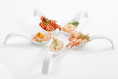 Shrimps on spoon Royalty Free Stock Photography