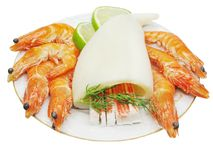 Shrimps with squid Stock Photo
