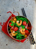 Shrimps stir fry Royalty Free Stock Image