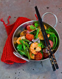 Shrimps stir fry Stock Photo