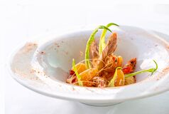 Shrimps with  tangerine and vegatables. Italian Gourmet restaurant food.