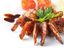 Shrimps teriyaki closeup Stock Images