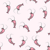 Shrimps.Vector seamless pattern. Royalty Free Stock Photo