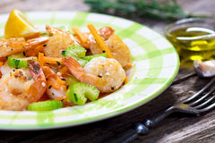 Shrimps with vegetable Stock Image