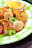 Shrimps with vegetable Royalty Free Stock Photos