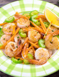 Shrimps with vegetable Stock Images