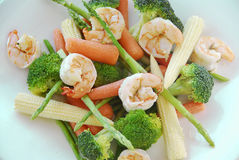 Shrimps & Vegetables stock photography